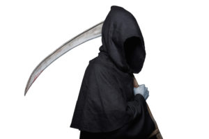 Grim reaper. Studio portrait isolated on white background